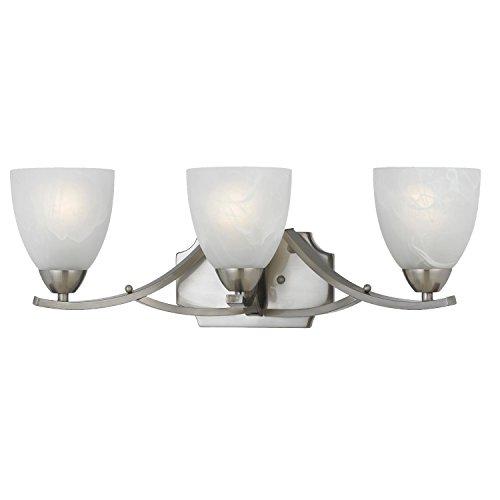 (Lumenno Lighting 8001-00-03 Vanity with White Swirl Alabaster Glass Shades, Satin Nickel Finish)