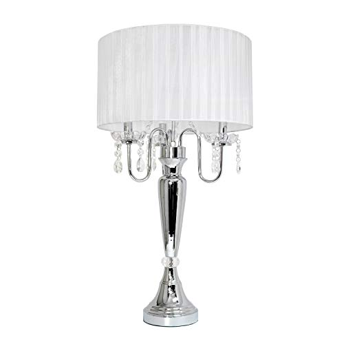 Chrome Truly Lamp Table - Elegant Designs LT1034-WHT Trendy Sheer Table Lamp with Hanging Crystals and Sheer Shade, White