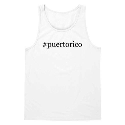 The Town Butler #Puertorico - A Soft & Comfortable Hashtag Men's Tank Top, White, Large