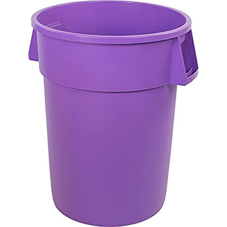 Carlisle 34105589 Bronco Round Waste Container Only 55 Gallon Purple Pack Of 2