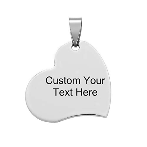 Engraved Metal Heart - 5PCS Bulk Engraved Stainless Steel Heart Charms Pendant Custom Stamping Blanks Tags 3.9x3.6cm