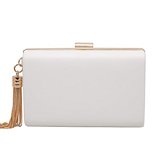 Leather Evening Clutch Handbag Clutch Purse Prom For Cocktail Wedding Women White