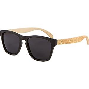 Wood Sunglasses - SHINER Hybrid Bamboo Wooden Sunglasses with Polarized Black Lens