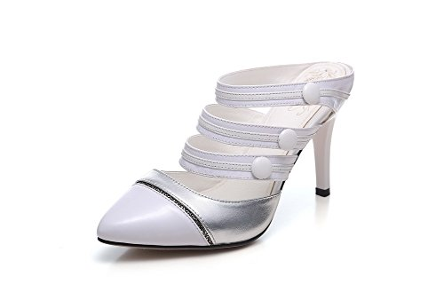 Amoonyfashion Mujeres Cow Leather Assorted Color Pull On Closed Toe Spikes Stilettos Zapatillas Blancas