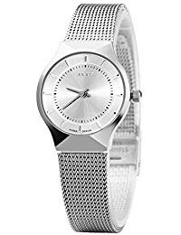 JULIUS Womens White Dial Mesh Stainless Ultra Thin Stylish Quartz Watch Fashion Elegant Wristwatch