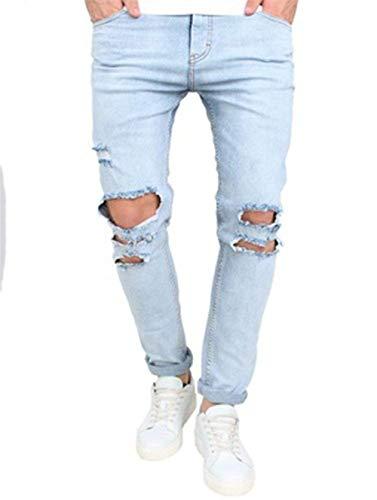 Jeans Fit Comodi Cotton Semplice Slim Ssig Uomo Fashion Morbidi Da Stile B Blue Pantaloni Dritti Elastici Alti rvBg8rx