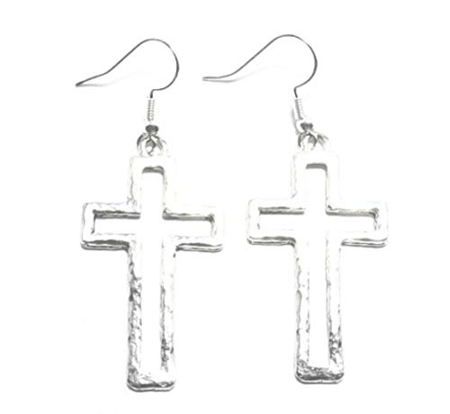 (Hammered Pewter Open Cross Charms on St Silver Ear Wire Dangle Earrings -5535 for Jewelry Making Bracelet Necklace DIY)