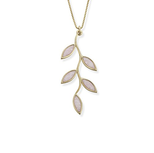 (Adina Plastelina 24K Gold Plated Silver (Vermeil) Small Olive Leaf Pendant Necklace with Rose Quartz Pattern, 16.5