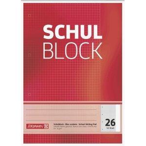DIN A4 Lineatur 26 10x Herlitz Schulblock kariert Schreibblock