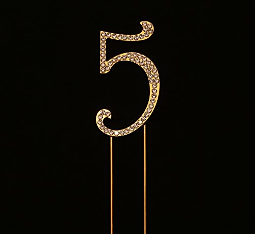 Number 5 for 5th Birthday or Anniversary Cake Topper Party Decoration Supplies, Gold, 2.75 Inches Tall (Cake Top Collection Keepsake)