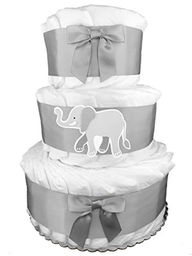 Elephant 3-Tier Diaper Cake - Baby Shower Gift - Centerpiece - Gray from Sunshine Diaper Cakes