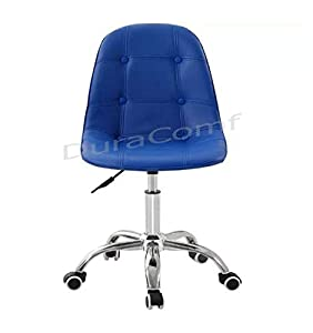 DuraComf Height Adjustable Desk Chair/Office Chair/Home Office Chair Without arms/Study Chair/Salon Chair/Spa Chair/Medical Stool/Bar Stool with Wheels (Blue) | 12 Months Warranty