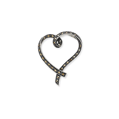 Jewelry Pendants & Charms Slides Sterling Silver Marcasite Heart Slide