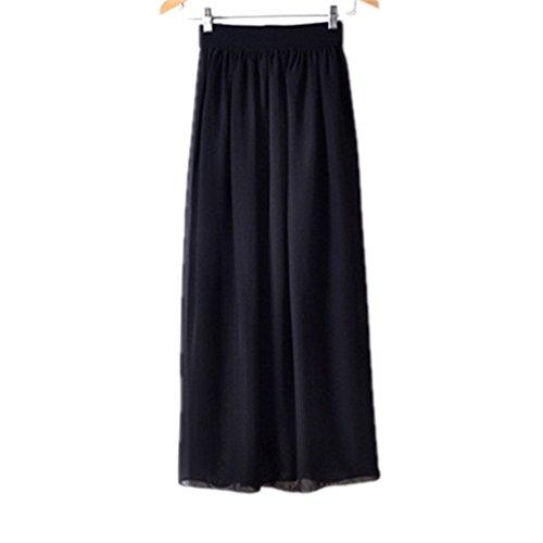 Morbuy Jupe Femme Longue Taille Elastique Longueur de la Cheville Jupes L't A-Ligne Casual lgante Jupe Pliss Cocktail. Noir