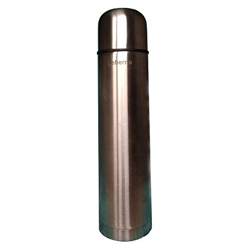 Leberna 34 oz Stainless Steel Vacuum Thermos Flask - Ounce 1000 ml - Double Wall Insulated, BPA FREE, Food Grade Material - Bottle Hot Water Coffee Cold Beverage Drinks - Fit Briefcase Purse Handbag
