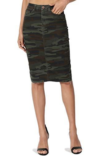 TheMogan Women's Butt Lift Washed Blue Jean Pencil Midi Soft Denim Skirt Army Olive M