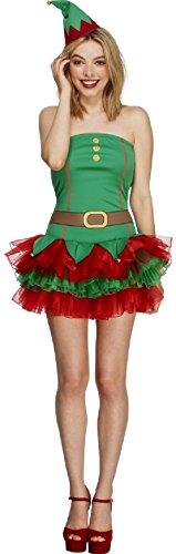(Ladies Fever Tutu Elf Xmas Christmas Festive Sexy Fancy Dress Costume Outfit (UK)