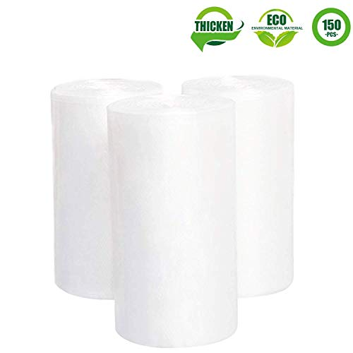 4 Gallon Clear Trash Bags, JORRIS Small Rubbish Bags 15-Liters Clear Wastebasket Liners Bags for Small Office, Bathroom and Coffee Station Wastebaskets Bin (Clear, 150 Counts/ 3 -