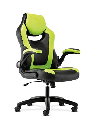 HON Sadie Racing Gaming Computer Chair- Flip-Up Arms, Black and Green Leather HVST914