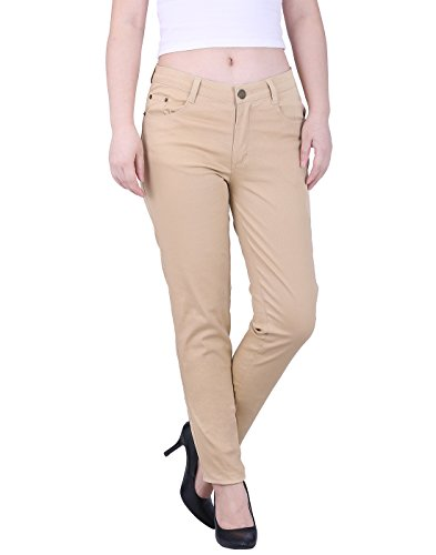 HDE Women's Jeans Jeggings Five Pocket Stretch Denim Pants (Khaki) Medium (Jeans Tan Pants)