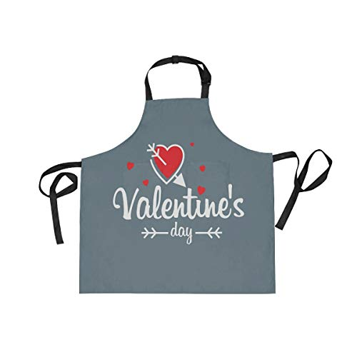 - BlueViper Valentine's Day With Grey Background Home Kitchen Apron for Women Men with Pockets, Unisex Adjustable Bib Apron Perfect for BBQ, Grill, Baking, Cooking