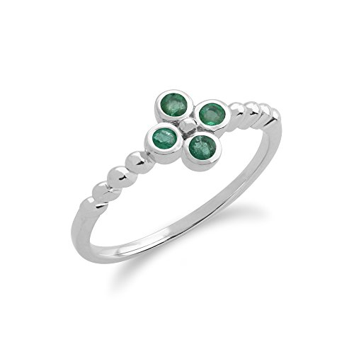 Gemondo Emerald Ring, Sterling Silver 0.19ct Emerald Cluster Ring (Emerald Cluster Ring Setting)
