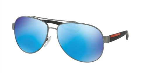 Prada Sport Green PS 55QS Sonnenbrille Blue Gunmetal Rubber Gris Light raScrWqw7