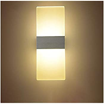 NAVIMC Modern Acrylic 6w LED Wall Sconces Aluminum Lights Fixture On/Off Decorative Lamps Night Light for Pathway, Staircase, Bedroom, Balcony,Drive Way ...