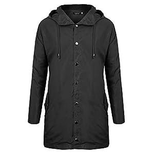FISOUL Raincoats Waterproof Lightweight Active Long Outdoor Hooded Mens Rain Jacket