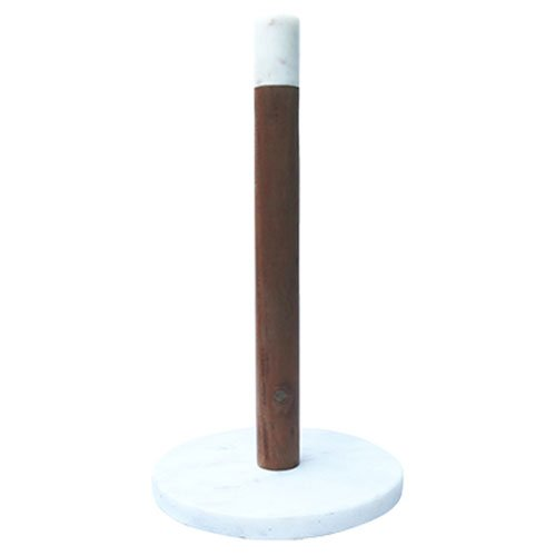 A & B Home White Marble and Wood Paper Towel Holder
