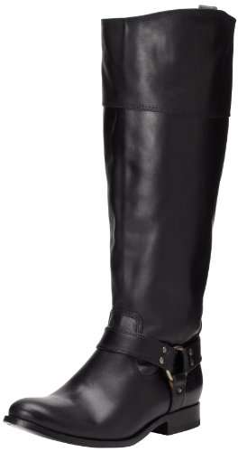 Frye Melissa de mujer arnés inside-zip Boot Black Smooth Vintage Leather Wide Calf-76927