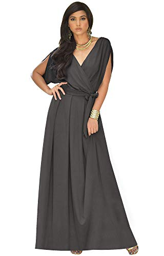 KOH KOH Plus Size Womens Long Formal Short Sleeve Cocktail Flowy V-Neck Casual Bridesmaid Wedding Party Guest Evening Cute Maternity Work Gown Gowns Maxi Dress Dresses, Dark Gray Grey XL 14-16