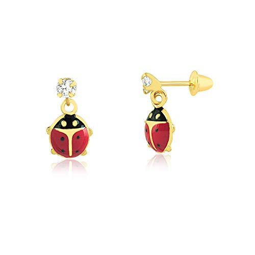 Carol Jewelry 18k Solid Yellow Gold Synthetic White Cubic Zircon Ladybug Push Backs Drop Dangle Earrings for Toddlers and Infants