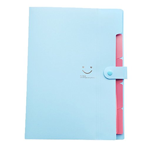 Skydue Letter A4 Paper Expanding File Folder Pockets Accordion Document Organizer (Blue)