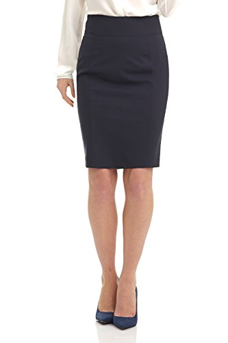 Rekucci Collection Women's Stretch Wool Pencil Skirt with Back Zip Detail (2,Navy)