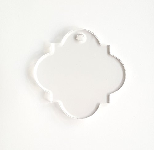 25 Acrylic Keychains Quatrefoil Clear Blank 1/8