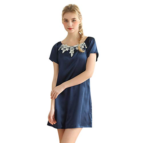 Sleepshirt Neck - LLNONG Women O-Neck Short Sleeve Sleepshirt Satin Nightdress Floral Lace Mini Sleepwear Casual Home Comfy Pajamas Navy