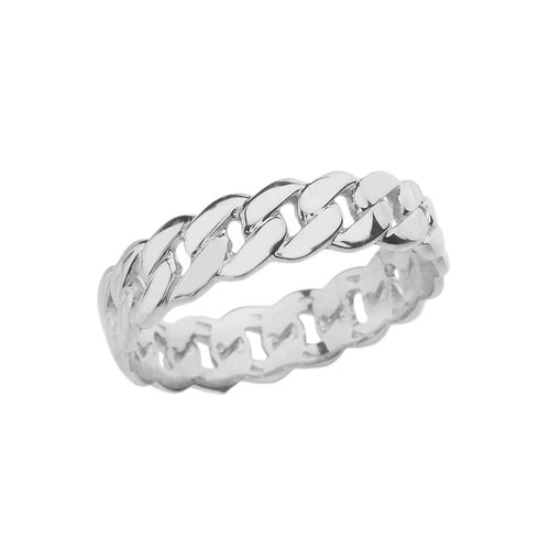 Celtic Rings Sterling Silver Gracious 5 mm Cuban Link Chain Eternity Band Ring (Size 8.5)