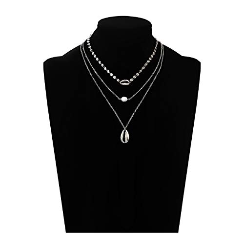 HEIDKRUEGER Layered Necklaces Thin Sequins Chain Choker Necklace Charm Pearl Cowrie Shell Pendant Necklaces for Women - Shell Necklace Sequin