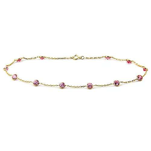 14k Yellow Gold Anklet Bracelet With 4mm Pink Round Shaped Cubic Zirconia (9 - 11 Inches) by amazinite