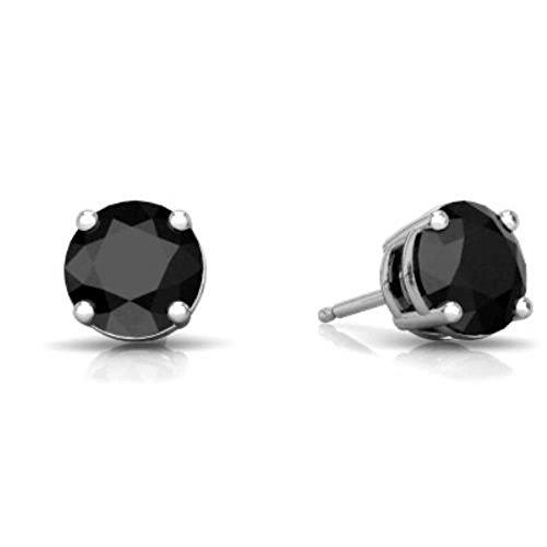 (14Kt White Gold 4mm Genuine Black Onyx Round Stud Earrings)