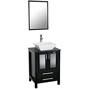 Delightful Eclife 24 Inch Modern Bathroom Vanity Units Cabinet And Sink Stand Pedestal  With White Square Ceramic