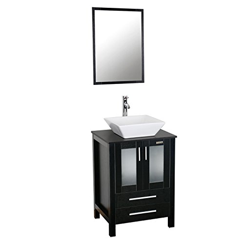 "eclife 24"" Modern Bathroom Vanity Sink Combo Units Cabinet And Sink Stand Pedestal with White Square Ceramic Vessel Sink with Chrome Bathroom Solid Brass Faucet and Pop Up Drain Combo (A07B02)"