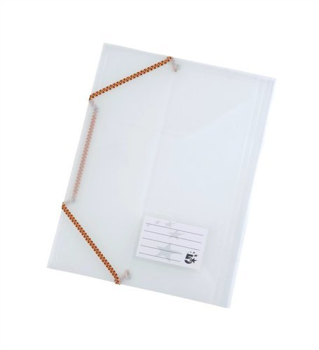 (5 Star 3 Flap Elasticated File Polypropylene A4 Translucent [Pack of 5] )