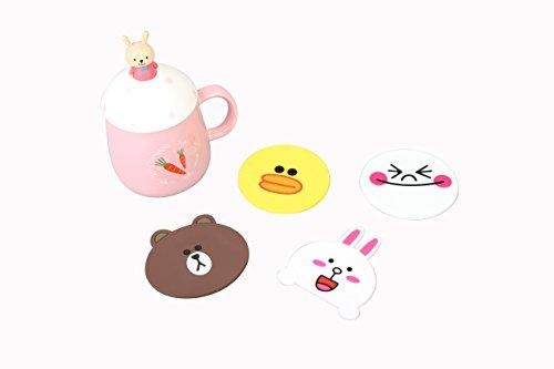 Set of 4 - Super Cute Kawaii Silicone Cartoon Cup Coasters Mats 5-inch (Assorted) (Line Friends)