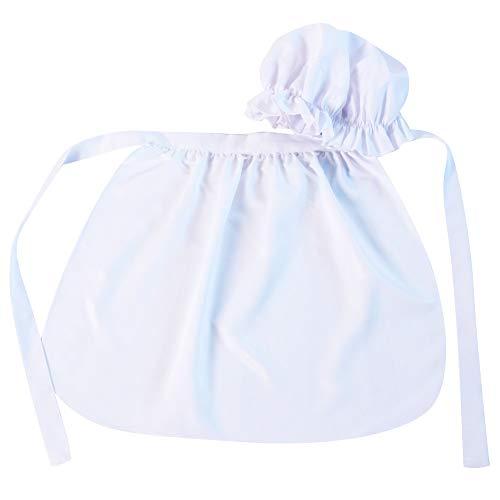 Girls Basic Mop Cap and Apron Set, White (Bonnet Apron)