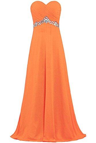 Sweetheart Orange lang Herzform Schnuerung Ivydressing Chiffon Abendkleid aermellos Brautfernkleid Damen Rueckenfrei Strass Partykleid 5wRnS7Uqx
