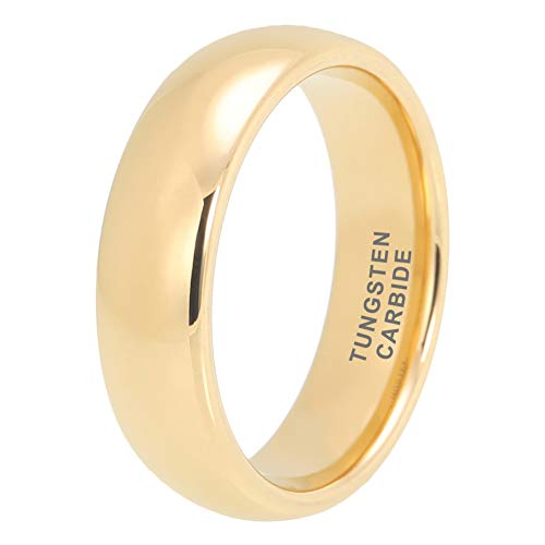 BestTungsten 6mm 18K Gold Tungsten Rings for Men Women Wedding Bands Classic Domed Polished Shiny Comfort Fit