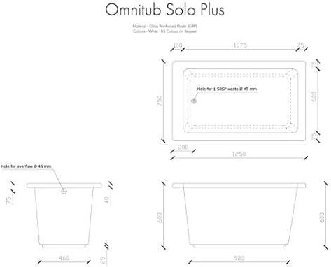 Omnitub Solo Plus Deep Soaking Bathtub Made In The Uk 1250mm Length X 750mm Width X 600mm Depth Amazon Co Uk Diy Tools