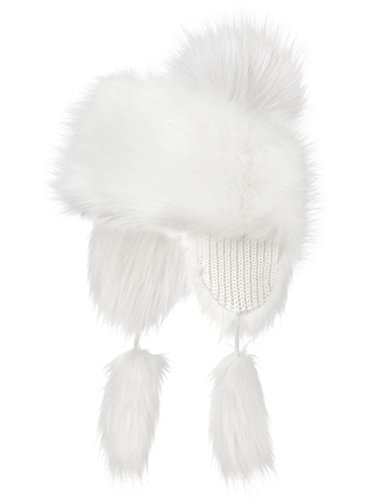 Futrzane Faux Fox Fur Winter Trapper Hat Women Russian Style Pompom (White) (Trapper Pom)